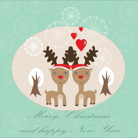 Cute Christmas card with two reindeer, snowflakes and white trees Stock Vector - 16587100