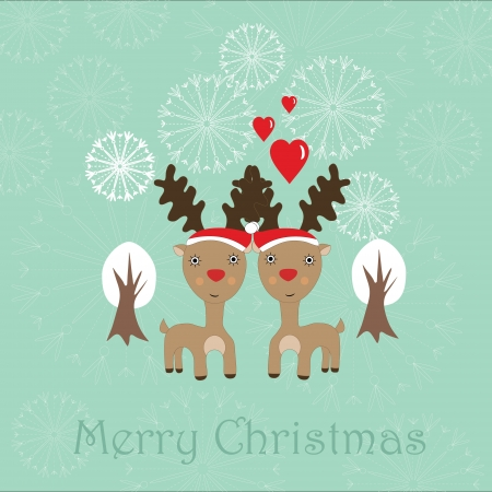 Cute Christmas card with two reindeer, snowflakes and white trees Vector