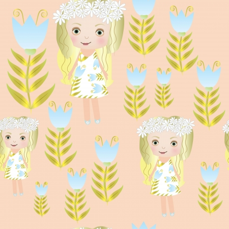 Seamless sweet small fairy girl vector illustration background pattern Vector