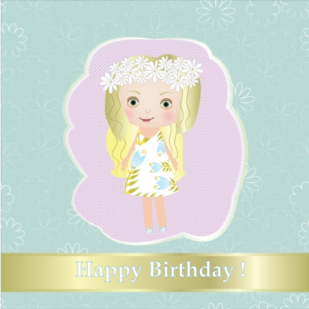 b day: Sweet small fairy girl with flower vector illustration postcard EPS 10