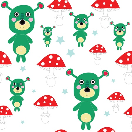 mutant: Seamless cute mutant - alien teddy with mushroom vector EPS 10 Illustration