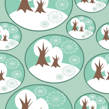 Seamless Winter pattern with winter trees Stock Vector - 16591617