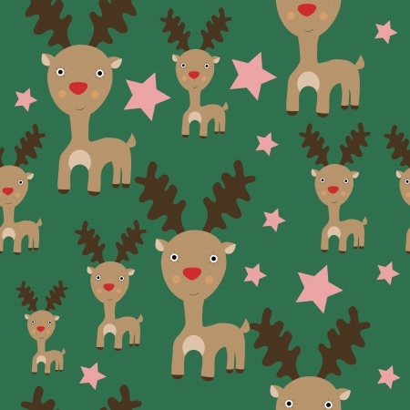 Seamless Christmas pattern with reindeer and stars vector pattern Vector