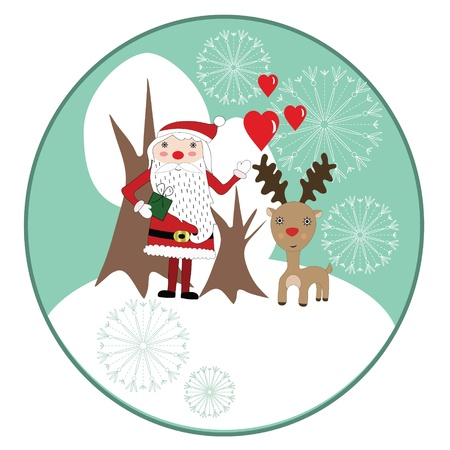 Cute Christmas card with Santaclaus, reindeer, snowflakes and white trees Vector