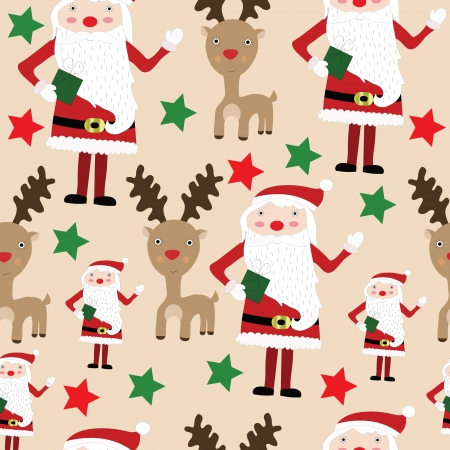 Seamless Christmas pattern with Santa, reindeer and stars vector pattern Vector