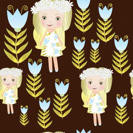Seamless sweet small fairy girl Vector
