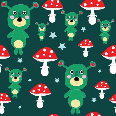 mutant: Seamless cute mutant - alien teddy with mushroom