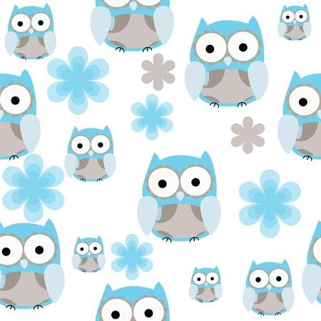 wintermode: Nahtlose nette blaue und graue Eule Hintergrund wiederholen Illustration