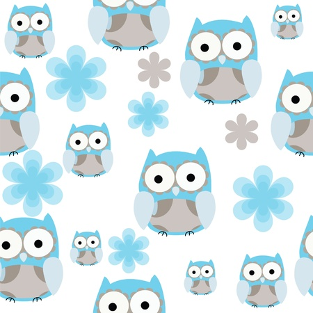winter fashion: Seamless cute blue and gray owl  repeating background