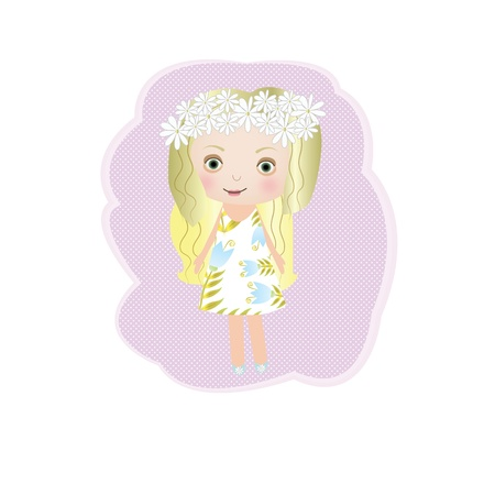 Sweet small fairy girl with flower  illustration Vector
