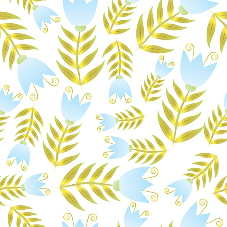 bellflower: Seamless blue and gold bell-flower repeated background