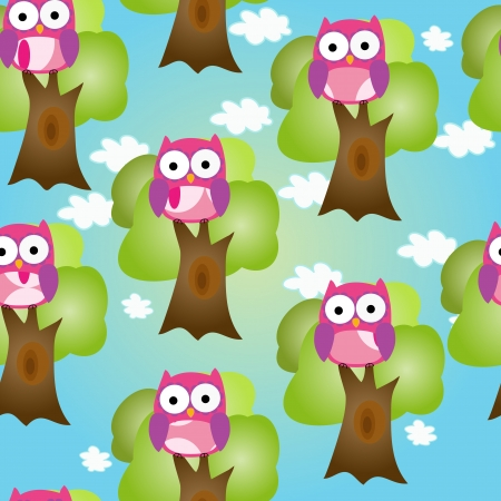 Seamless cute owl on tree vector repeating background vector EPS 10 Stock Vector - 16592817