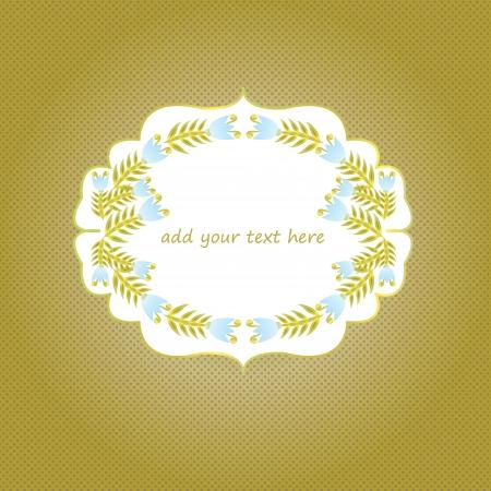 optionnel: Bleu et or de cloche cadre fleur sur fond brun dor� avec text EPS en option: 10