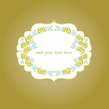 bellflower: Blue and gold bell-flower frame on gold-brown background with optional text EPS 10