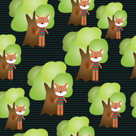 Seamless cartoon fox with trees illustration background pattern EPS 10 Stock Vector - 16593946