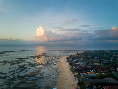Aerial view of the tropical beach and village Stock Photo