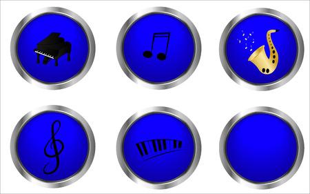 botones musica: Botones de m�sica azules