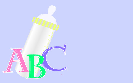 b day gift: Background with baby bottle