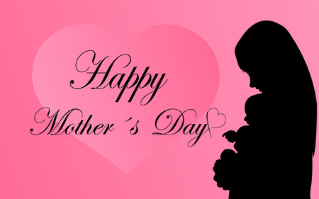 mother and baby: Greeting card with silhouette mother with baby