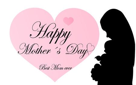 baby moeder: Wenskaart met silhouet moeder met baby Stock Illustratie