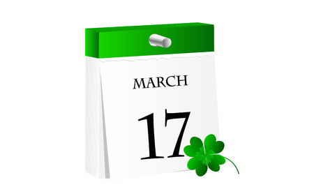 seventeen: Calendar with date of St. Patrick Day