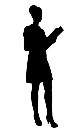body woman: Silhouette of waitress