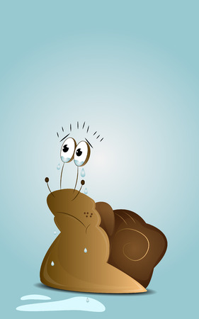 sorrowful: Cartoon crying snail