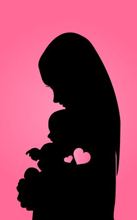 mother and baby: Silhouette mother with baby Illustration