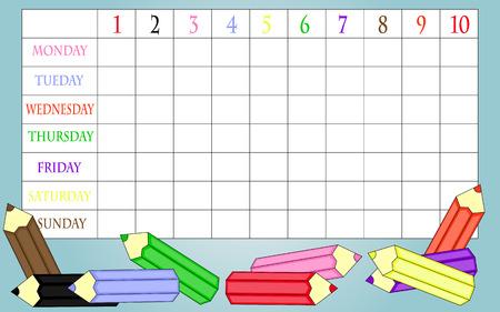weekday: School timetable Illustration