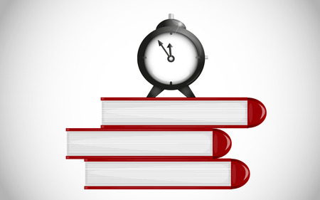 Time for school. Alarm clock on books Vector