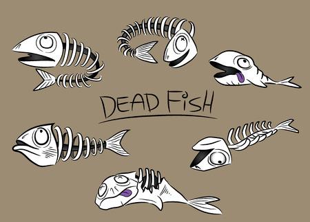 dead fish bones vector illustration