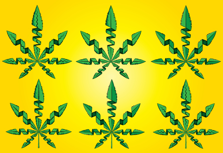 Cannabis marijuana weed green leaf vector