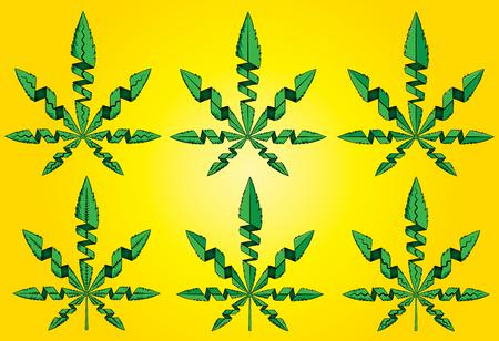 Cannabis marijuana weed green leaf vector