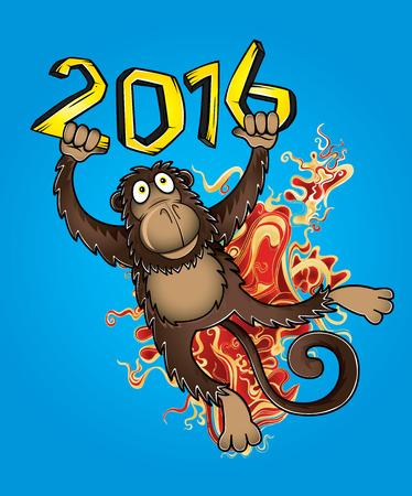 jumping monkeys: 2016 Year of the monkey cartoon vector illustration Illustration
