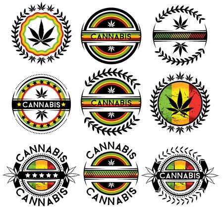 marihuana: ilustración vectorial sello de diseño marijuna Cannabis
