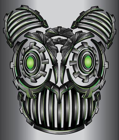 er: Metal robot cyber techno fantasy digital cat face design Illustration