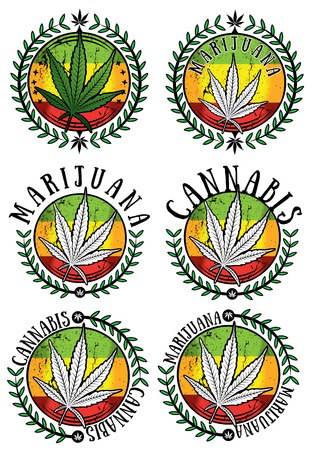 indica: Marijuana cannabis leaf sticker design vector illustration