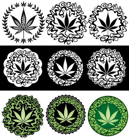 Marijuana leaves design stamps vector illustration Stock Vector - 52985823