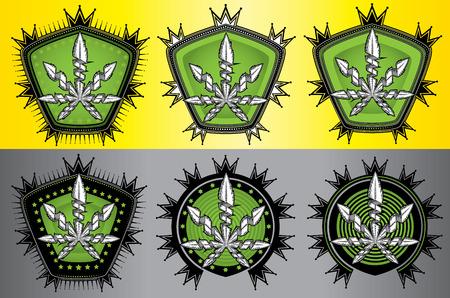 indica: Marijuana Cannabis leaf design stamps vector illustration