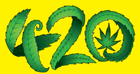 legalize: Green marijuana leaf 420 text vector illustration