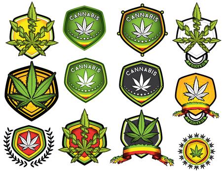 Marijuana cannabis timbres d'illustration vectorielle de conception des mauvaises herbes
