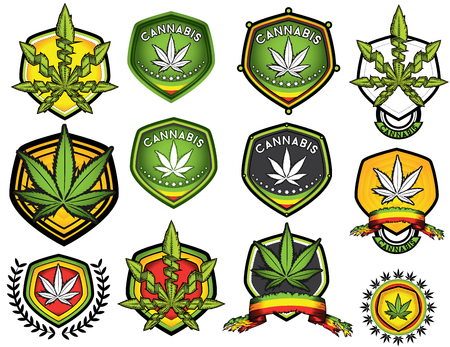 cannabis leaf: Marijuana cannabis weed design vector illustration stamps Illustration