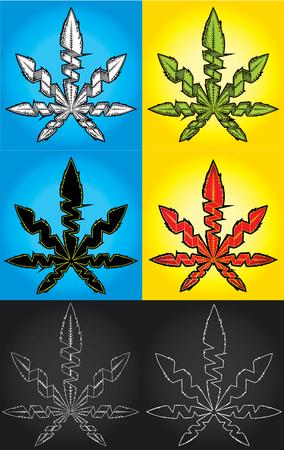 indica: Marijuana cannabis leaf symbol vector illustration