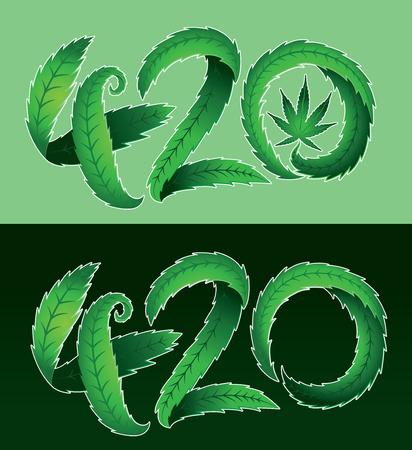 marihuana: hoja de marihuana verde ilustración vectorial de texto 420