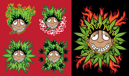 relaxed: cannabis happy relaxed guy with marijuana leaf background