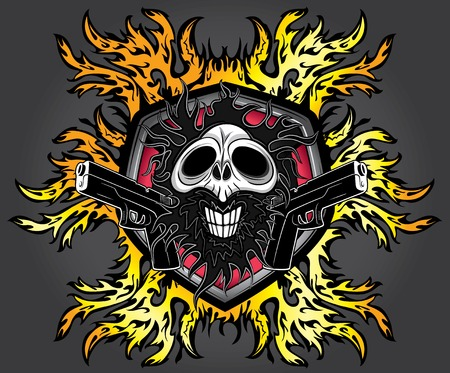 pistols: punk cyber human skull with pistols and fire flames background