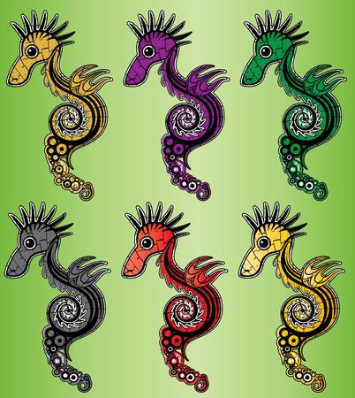 hippo campus: cartoon textured colored sea horse vector illustration Illustration