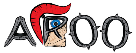 metal letters: cartoon spartan warrior profile and metal letters illustration
