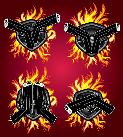 glock: hand gun pistol glock fire element design Illustration