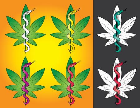 indica: Marijuana leaf symbol with snake vector illustration